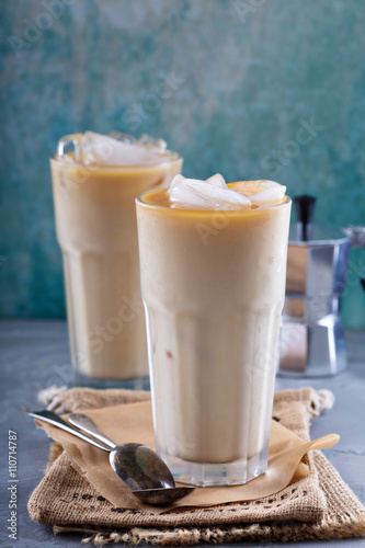 Foto op Aluminium Milkshake Iced coffee with milk in tall glasses
