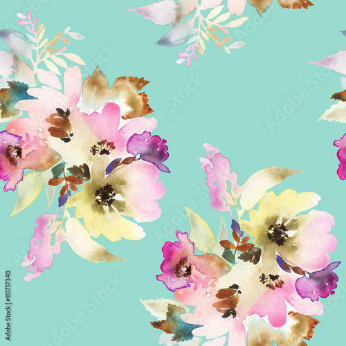 Tuinposter Vlinders Seamless pattern with flowers watercolor