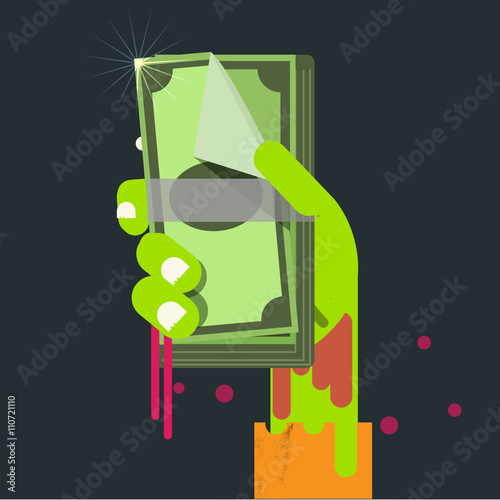 Photo bank note in zombie hand. Selfish Money concept - vector