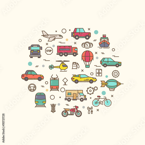 Fotografie, Obraz  Vehicle and transport icons in circle design