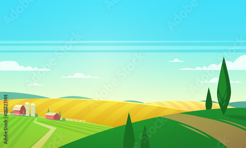 Poster Turquoise Summer landscape with farmhouse. Vector illustration.