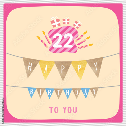 Happy 22nd Birthday Card Buy This Stock Illustration And Explore