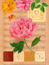 Vintage 'Love' Card Design With Peony, Roses, Music, And Butterflies
