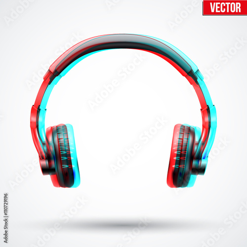 Fotografia, Obraz Headphones with visual stereo effect