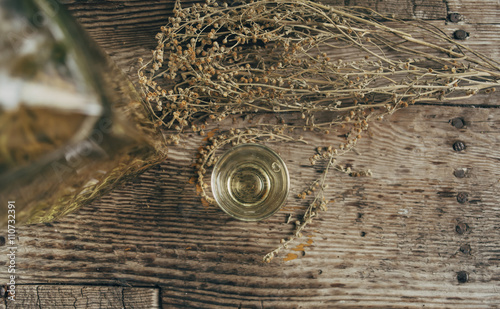 Slika na platnu Wormwood drink in a small glass on rustic board