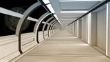 Fototapeta Przestrzenne - 3d render interior. Futuristic hallway. Interior concept design