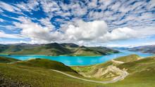 Yamdrok Lake Panorama From Above. Tibet, China.