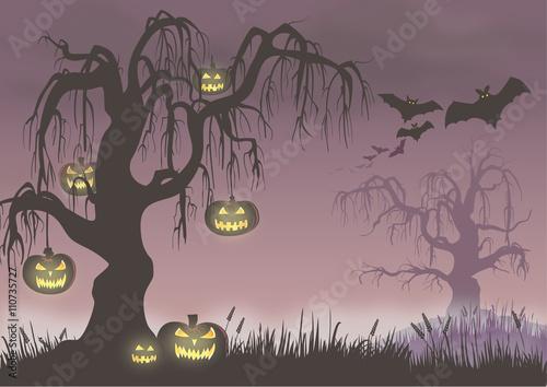 Spoed Fotobehang Halloween creepy halloween scene with pumpkins and bats