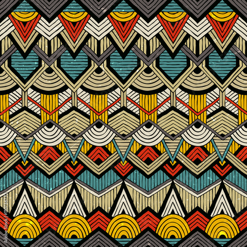 Canvastavla  Colorful vector pattern in tribal style