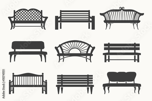 Photo Outdoor benches icons. Bench black icons vector illustration