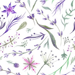 Panel Szklany Przyprawy Watercolor Herbal Pattern with Lavender in Purple Color