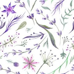 Fototapeta Przyprawy Watercolor Herbal Pattern with Lavender in Purple Color