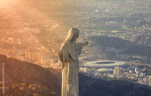 Aerial view of Christ The Reedemer Statue looking at Maracana Stadium