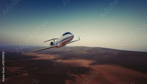 Fototapeta Photo of White Luxury Generic Design Private Jet Flying in Sky under the Earth Surface. Uninhabited Desert Mountains Background. Business Travel Picture. Horizontal. Film Effect. 3D rendering. obraz na płótnie