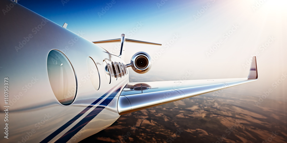 Fototapety, obrazy: Photo of White Luxury Generic Design Private Jet Flying in Blue Sky at sunset.Uninhabited Desert Mountains Background.Business Travel Picture.Horizontal,Film Effect. 3D rendering.