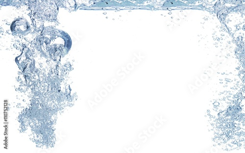 Fotografie, Obraz  A blue toned photo of water being poured.