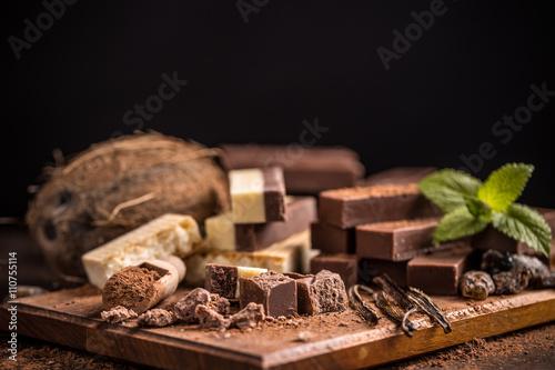 fototapeta na lodówkę Homemade chocolate fudge