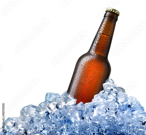 Vászonkép  Bottle of beer in ice