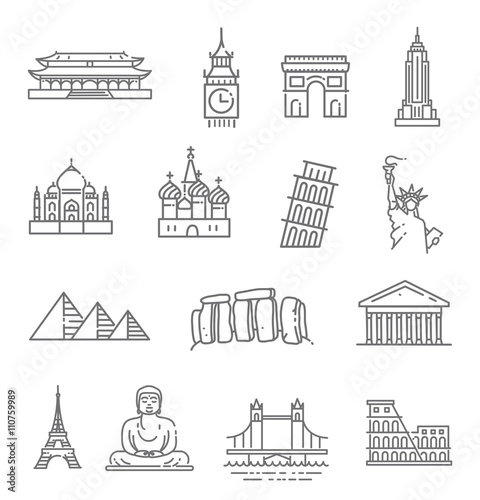 Travel landmarks line icon set Fototapete