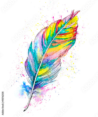Fotografía hand painted watercolor illustration of a feather
