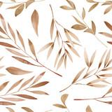Bezszwowy kwiecisty wzór z akwareli brązu liśćmi na gałąź, ręka rysująca na białym tle - 110762343