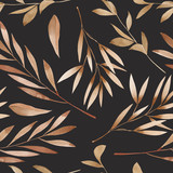 Seamless floral pattern with the watercolor brown leaves on the branches, hand drawn on a dark background - 110762381