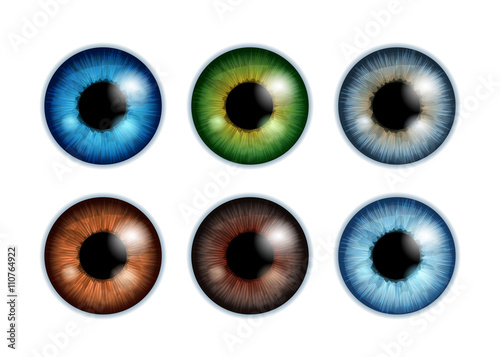 Human eyeballs iris pupils set - assorted colors. Wallpaper Mural
