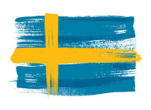 Sweden Colorful Brush Strokes Painted Flag.