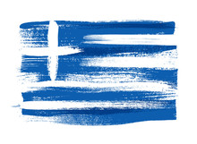 Greece Colorful Brush Strokes Painted Flag.