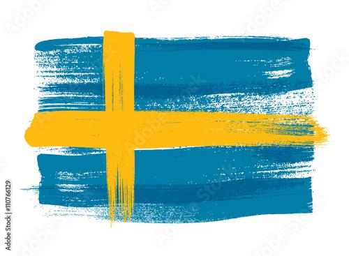 Fotografía  Sweden colorful brush strokes painted flag.
