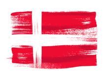 Denmark Colorful Brush Strokes Painted Flag.