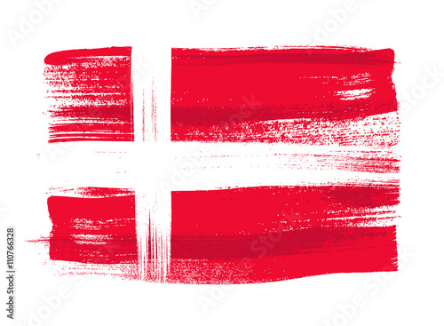 Photo  Denmark colorful brush strokes painted flag.