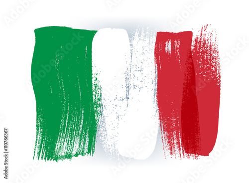 Italy colorful brush strokes painted flag.