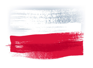 Poland colorful brush strokes painted flag.