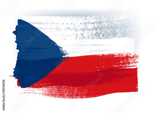 Photo  Czech Republic colorful brush strokes painted flag.