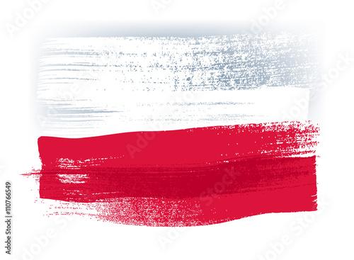 Fotografie, Obraz  Poland colorful brush strokes painted flag.