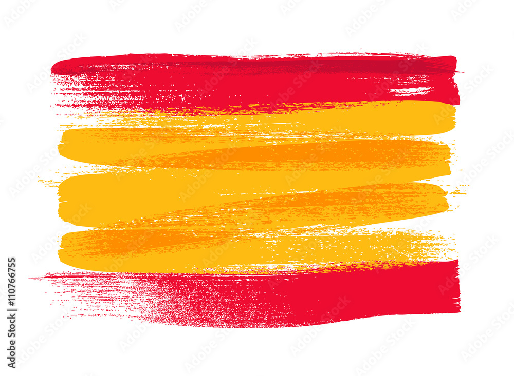 Fototapety, obrazy: Spain colorful brush strokes painted flag.