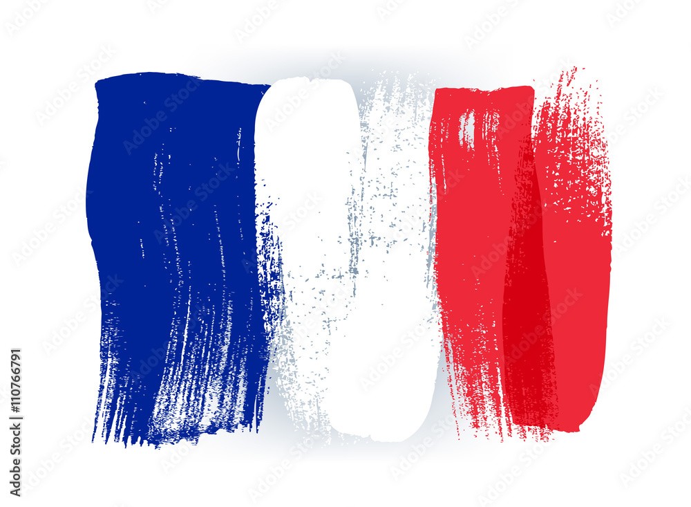 Fototapety, obrazy: France colorful brush strokes painted flag.