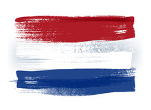 Netherlands Colorful Brush Strokes Painted Flag.