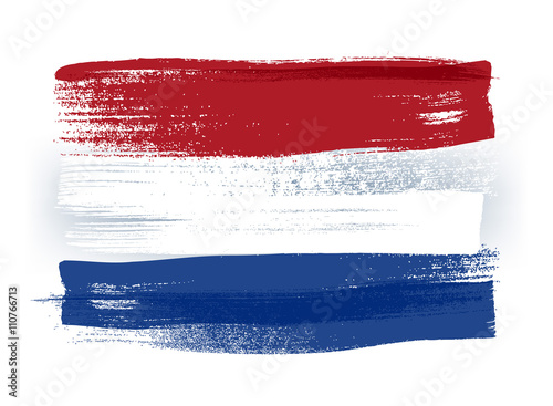 Fotografía  Netherlands colorful brush strokes painted flag.