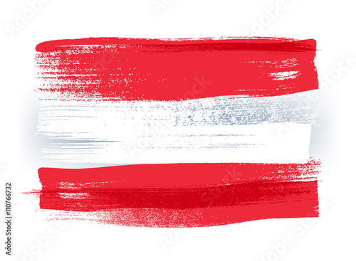 Fotografie, Obraz  Austria colorful brush strokes painted flag.