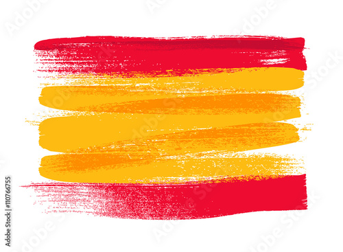Spain colorful brush strokes painted flag. Fototapet