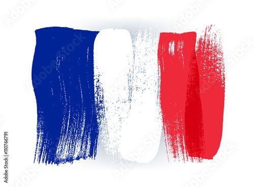 Plakat Francja kolorowe pociągnięcia pędzlem malowane flagi.