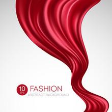 Red Flying Silk Fabric. Fashio...