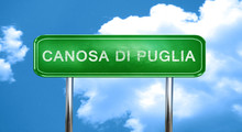 Canosa Di Puglia Vintage Green Road Sign With Highlights