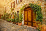 View of the ancient old european street in Pienza. Italy.
