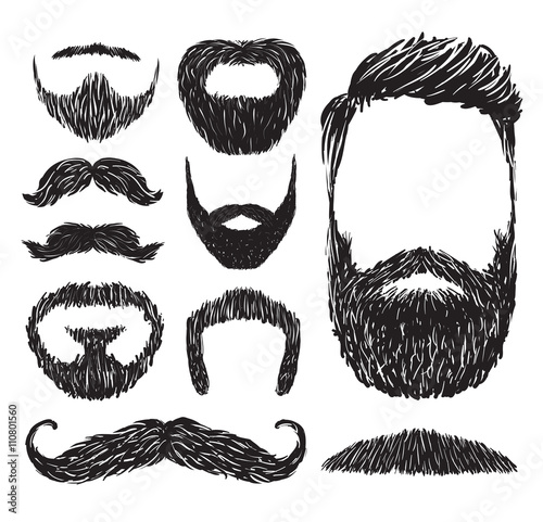 Foto Set of mustache and beard silhouettes, vector illustration