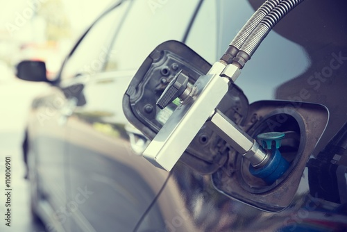 Fotografie, Obraz  Gas dispenser for refuel Vehicle fueling facility.