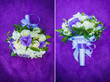 canvas print picture - Wedding bouquet on a purple blanket
