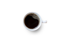 Black Coffee Cup On White Background.
